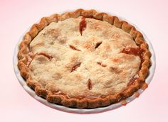 This rhubarb pie contains no distractions, like strawberries The crust is made with shortening (Butter is fine if you want a French tart, but it's not American pie unless it's made with shortening, the author Anne Dimock said.) The top is marked with 8 razor-thin vents.