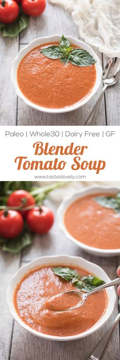 Paleo & Whole30 Tomato Basil Soup - made with canned tomatoes and in the blender, ready in 15 minutes! (dairy free, gluten free, sugar free)