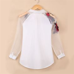 Go out and set a new trend with this stylish and pretty embroidered shirt with turn down collar. Set a new style