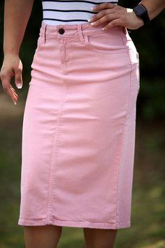 Colored Denim Skirt - Rose Pink