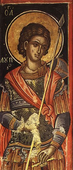 A faithful servant of Holy GreatMartyr Demetrius of Thessalonica (Oct Holy Martyr Lupus cent) witnessed his master's martyrdom. Byzantine Icons, Byzantine Art, Christian Symbols, Christian Art, Fresco, Religious Icons, Orthodox Icons, Sacred Art, Dark Ages