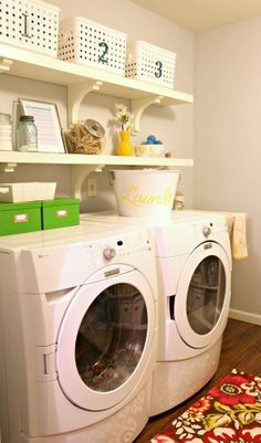 Get inspired with these images of beautifully organized #laundry rooms
