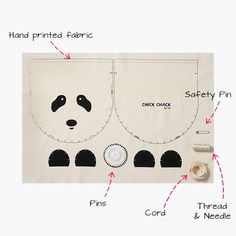 DIY kit for creating a cute Panda drawstring bag for kids. In this kit you will find all the materials needed as well as detailed instructions on how to sew thi Sewing Hacks, Sewing Crafts, Sewing Projects, Sewing Tips, Sewing Tutorials, Sewing For Kids, Diy For Kids, Animal Bag, Hand Printed Fabric