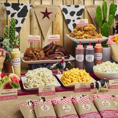 Rodeo Birthday Parties, Rodeo Party, Cowboy Theme Party, Birthday Bbq, Birthday Party Themes, Western Party Decorations, Cowgirl Party Food, Western Party Foods, Country Birthday Party