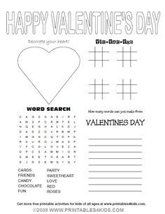 Valentine's Day Activity: Geoffrey's Valentine's Day Word Search ...