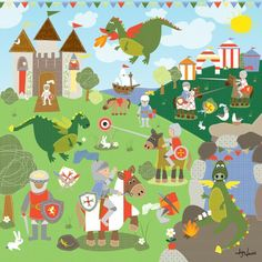 Knights and Dragons Canvas Print by Happy Spaces Limited at Bouf.com