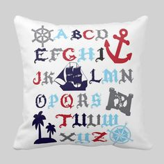 Adorable pirate alphabet pillow on white background add a dash of cozy to any nursery or childs room. Designed by Toss & Throw and printed on 100%