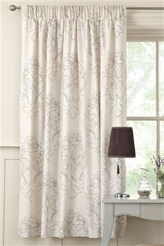 Damask Natural Pencil Pleat Curtains
