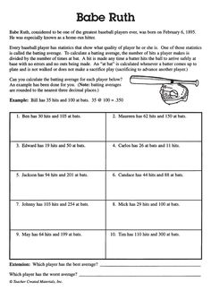 Worksheets Calculating Average Speed Worksheet calculating batting average in baseball babe ruth has math sums and problems that help kids learning to calculate