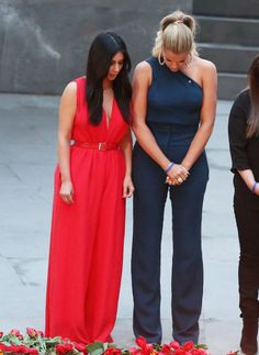 April 10, 2015 - Kim & Khloe Kardashian visiting the Armenian Genocide Memorial at Tsitsernakaberd in Yerevan, Armenia.