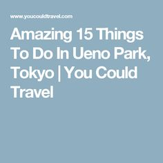 Amazing 15 Things To Do In Ueno Park, Tokyo | You Could Travel