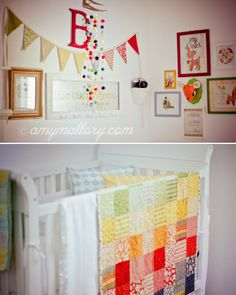 Gender neutral nursery-I love the deer and the primary colors and the vintage books & toys.  It's all so pretty!