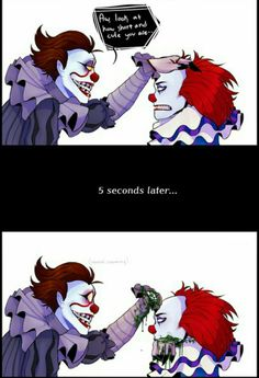 Funny pennywise<< I liked the old IT movie more :') Horror Icons, Horror Films, Horror Art, Es Pennywise, Pennywise The Dancing Clown, Creepypasta, Movie Memes, Funny Memes, Le Clown