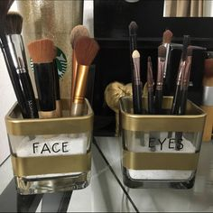 Gold striped face and eyes make up brush holder Gold stripes. Will not include brushes. Lowercase black thin letters Can be with black or white sand, if you don't tell me I'll send at random. Not brand listed. PINK Victoria's Secret Makeup Brushes & Tools