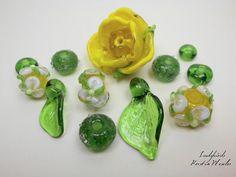 Handmade Lampwork Bead Set Focal Glass Rose with von LadybirdsArt, €58.00