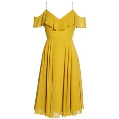 Women's Jenny Yoo Kelli Cold Shoulder Chiffon Dress (865 PEN) ❤ liked on Polyvore featuring dresses, open shoulder dress, jenny yoo, panel dresses, cold shoulder dress and chiffon dresses