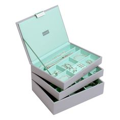 Stackers Dove Grey & Mint Classic Jewellery Box - Set of 3: Amazon.co.uk: Kitchen & Home