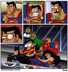 """Superman tries to kill Batman for not giving me my nachos"""