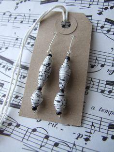 Vintage Music Paper Handmade Paper Bead Earrings by AnnataTesoro, £7.00
