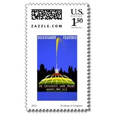Buckingham Fountain 1939 WPA Postage Stamps by lc_wpa