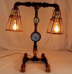 """Ghostly Lamp Made From Re-Purposed WAVERLY HILLS SANATORIUM WARD PIPES. 20""""T"""