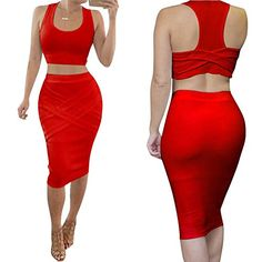 Riveroy Womens Bandage Tank Top Midi Skirt Outfit Two Piece Bodycon Dress M Red >>> You can find more details by visiting the image link.