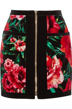 BALMAIN Floral-Print Cotton-Velvet Mini Skirt. #balmain #cloth #skirt