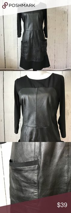 """Laundry by Shelli Segal black dress with leather Pit to pit 19"""" Length 35""""  Same or next day shipping Laundry By Shelli Segal Dresses Long Sleeve"""