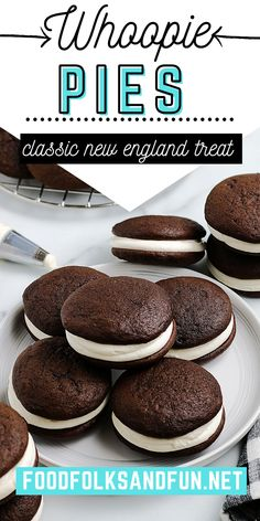 These Whoopie Pies are a chocolate lover's dream. They are a chocolate cake-like cookie sandwich with a marshmallow fluff filling.For more easy dessert ideas follow Food Folks and Fun! Red Velvet Whoopie Pies, Chocolate Whoopie Pies, Chocolate Deserts, Chocolate Delight, Types Of Desserts, Desserts For A Crowd, Fancy Desserts, Blueberry Desserts, Apple Desserts