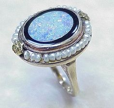 Victorian Era Ring 10k Gold, Seed Pearl, Harlequin Opal & Onyx from arnoldjewelers on Ruby Lane