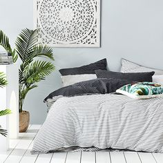 Home Republic - Stonewashed Printed Cotton Black Stripe Quilt Cover Twin Bed Sets, Striped Sheets, Hotel Bedroom Design, Bedroom Design, Home Republic, Contemporary Bed, Bed, Striped Duvet, Luxury Bedding