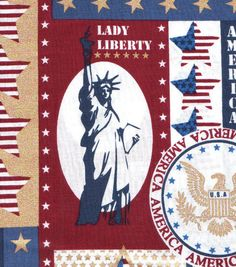 Holiday Inspirations Patriotic Fabric- In God We Trust Metallic