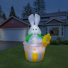 Details About EASTER BASKET INFLATABLE LAWN DECORATION AIRBLOWN BUNNY YARD  PROP LIGHTED GARDEN