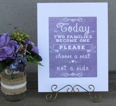 https://www.tradesy.com/weddings/wedding-decorations/rustic-country-purple-burlap-look-set-of-4-signs-for-your-wedding-super-cute-2031952/  #purple #denim #wedding #lavender #purplewedding #lavenderwedding #rustic #cute #love #seatingplan #love #weddingdecor #weddingsigns #seatingplan