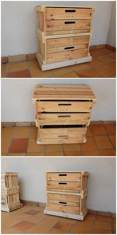 Pallet Nighstand with Drawers