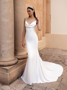 Shop a great selection of Pronovias Antiope Cowl Neck Crepe Trumpet Wedding Dress. Find new offer and Similar products for Pronovias Antiope Cowl Neck Crepe Trumpet Wedding Dress. Cowl Neck Wedding Dress, Sleek Wedding Dress, Crepe Wedding Dress, Bridal And Formal, Wedding Dress Sizes, Simple Elegant Wedding Dress, Crepe Dress, Silk Wedding Dresses, Modern Wedding Dresses