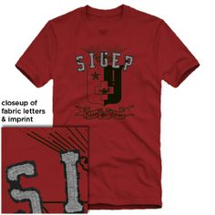 Campus Classics - SigEp Deep Red Distressed Fabric Letter Tee: $22.95