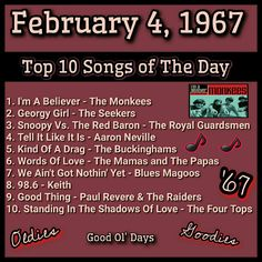 Hit Songs, Music Songs, Upbeat Songs, 60s Music, Nostalgic Music, Throwback Songs, Music Charts, The Monkees, Song Playlist