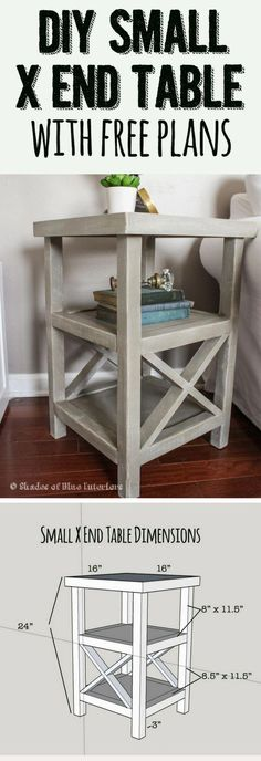 18 Easy DIY Sofa Side Tables You Can Build on a Budget - Check out the tutorial how make a small DIY sofa X end table decor bedroom side tables 19 Easy & Unique DIY Side Table Ideas You Can Build on a Budget Diy Furniture Projects, Pallet Furniture, Furniture Plans, Rustic Furniture, Home Projects, Antique Furniture, Outdoor Furniture, Bedroom Furniture, Modern Furniture