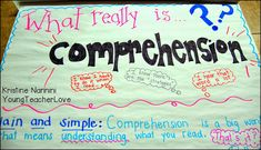 YoungTeacherLove: What really is comprehension? Tons of great anchor charts with student language! I was SO surprised that many of my students didn't know what this word really meant!