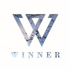 """The color theme is well balance out between white and blueish so that the logos and text could pop out to the audience. Since the visual image is a representing a boy group's logo, this fits with """"Logo"""" category. Kpop Logos, W Logos, Logo Sticker, Wall Sticker, Winner Kpop, K Pop Music, Letter Logo, Color Themes, Boy Groups"""