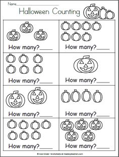 Halloween Math Worksheet – How Many? – Free Math Worksheet for Kindergarten and Halloween Provide counting practice for your child or student with this free fall worksheet. Just print i… Halloween Math Worksheets, Free Math Worksheets, Kindergarten Math Worksheets, Preschool Learning Activities, Preschool Math, In Kindergarten, Nanny Activities, Alphabet Worksheets, Free Activities
