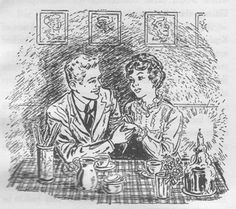 """Betsy Ray and Joe Willard.  """"She thought about him in quiet adoration. She loved him. She'd loved him for years. He was the finest person she'd ever known—he was bound up with almost her whole past life, and she didn't want to live the rest of her life without him."""" — Betsy and the Great World, Maud Hart Lovelace"""
