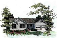 This lovely country style home with a ranch style structure (Plan has over 1060 sq ft of living space. The one story floor plan includes 3 bedrooms. Country Style House Plans, Craftsman Style House Plans, Country Style Homes, Ranch House Plans, Best House Plans, Small House Plans, Cottage Style Homes, Ranch Style, Bay Window