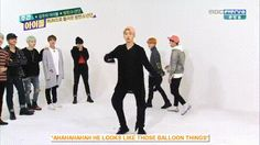Rap Mon trying hard to make BTS the icon for military men with his dance from Weekly Idol... I love this idiot genius <3 <3
