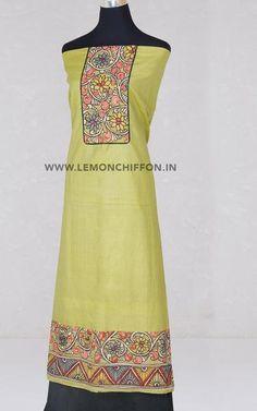 Salwar Suits   Lemon Chiffon Kalamkari Kurta, Kalamkari Fabric, Silk Fabric, Salwar Suits, Tunics, Hemline, Lemon, Chiffon, Summer Dresses