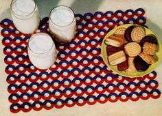 NEW! Bone Ring Place Mat crochet patterns from Kitchen Crochet, Book No. 304, originally published in 1954.