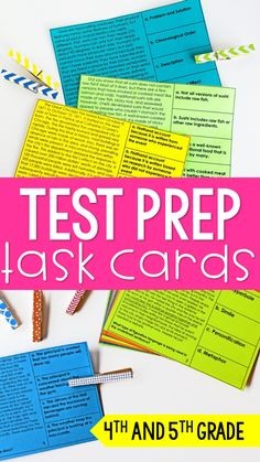 These reading test prep task cards are perfect for test prep centers, test Reading Test, 5th Grade Reading, Reading Centers, Reading Intervention, Reading Workshop, Reading Skills, Teaching Reading, Reading Resources, Reading Activities