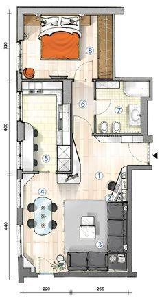 tiny flat with lots of window in kintchen. and living room. appartamento di 55 mq con tante finestre in soggiorno e cucina Small House Plans, House Floor Plans, Small Apartments, Small Spaces, Espace Design, Apartment Floor Plans, Small Apartment Plans, Apartment Layout, Sims House