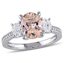 Oval-Cut Morganite and CT. Diamond Three Stone Engagement Ring in White Gold Detail 1 Three Stone Engagement Rings, Three Stone Rings, Diamond Stone, Diamond Rings, Fashion Rings, Gemstone Rings, White Gold, Photoshop, Gemstones